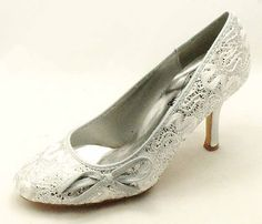 Ladies Silver Glitter high heel party court shoes NEW