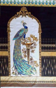 "Beau Monde Peacock Fabric Panel Gold Metallic Cobalt Blue Robert Kaufman 44""x24"" #RobertKaufmanFabrics"