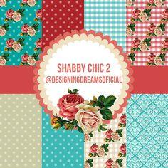 Kit Digital de papeis e frame Shabby Chic 2 - Cantinho do blog