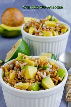 Orzo Pilaf with Avocado   giverecipe.com   #orzo #pilaf #avocado
