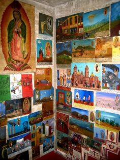 We entered Alfredo's home through the living room and kitchen downstairs and were brought right in to meet the whole family. We walked up the tiny winding staircase, covered in retablos and ex-votos to the second floor to his bedroom   and studio.