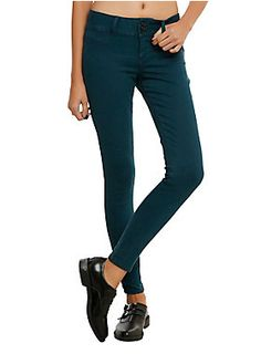 "<p>Teal jeans with a super skinny fit and 3-button & zip closure.</p><ul>	<li>9"" leg opening</li>	<li>80% cotton; 18% polyester; 2% spandex</li>	<li>Wash cold; dry low</li>	<li>Imported</li></ul>"