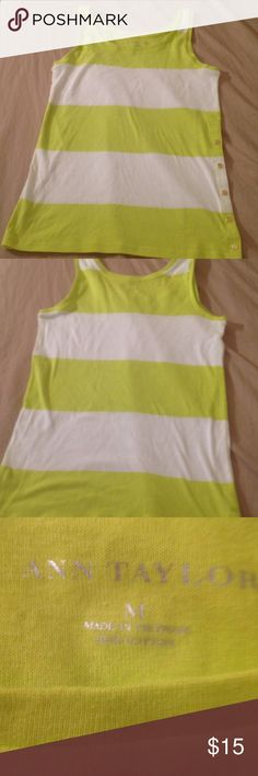 Ann Taylor Striped Tank top Great for the summer and Taylor lime colored striped tank top with a design of the snap buttons on the side and they do on snap and snap. I have so much to list due to domestic violence and now being homeless. Please don't hesitate to make offer I have been given so much time for Storage before I lose everything. Ann Taylor Tops Tank Tops