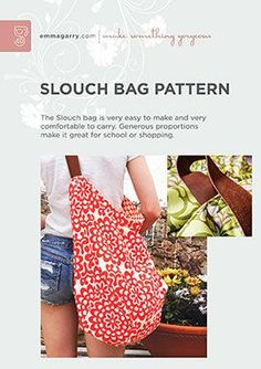 Slouch Bag sewing pattern - Easy project for beginners with paper pattern and full clear instructions, available from the Sew Different website.
