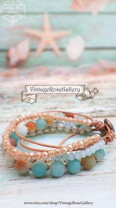 Boho Chic Leather Bracelet , Aqua Multi Strand Bracelet, Gemstones Boho Chic Bracelet by VintageRoseGallery Strand Bracelet, Beaded Bracelets, Beaded Jewelry, Bracelet Making, Jewelry Making, Boho Chic, Jewerly, Gemstones, Hippy