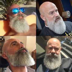 Bad Beards, Grey Beards, Long Beards, Badass Beard, Sexy Beard, Bald Men Style, Types Of Beards, Bald With Beard, Beard Haircut