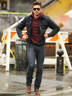 Zac Effron killing street look with Simple denim jacket , jeans and casual shoes