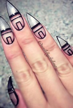 Silver negative space nails