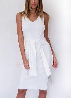 Kleider - $40.99 - Polyester Solide Ärmellos Knielang Lässige Kleidung Kleider (1955126811)