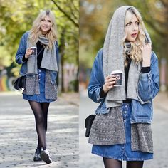 Get this look: http://lb.nu/look/7860360  More looks by Ebba Zingmark: http://lb.nu/ebbaz  Items in this look:  Monki Blazer, 2hand Denim Jacket, Henry Kole Shoes, Borrowed Skirt, Monki Bag, & Other Stories Scarf
