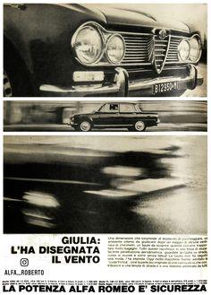 Alfa Romeo Giulia Pubblicità anno 1966 Alfa Romeo Gtv, Alfa Romeo Giulia, Classic Cars, Movies, Movie Posters, Films, Vintage Classic Cars, Film Poster, Cinema