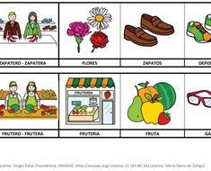 Busca_el_intruso_instrusos_Oficios_pictogramas_ARASAAC_4 Classroom, Activities For Autistic Children, Phonological Awareness, Vocabulary, Writing, Pictogram, Class Room