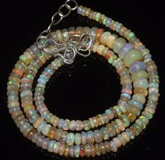 """48Ctw1Necklace 3.5to7 mm 16""""Beads Natural Genuine Ethiopian Welo Fire Opal R5892"""