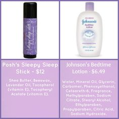 Which would you use on your baby?  The Sleepy Sleep Stick is loaded with lavender essential oil and shea butter.  Johnson's has tons of stuff including parabens. Order here: www.perfectlyposh.com/wendyjoe