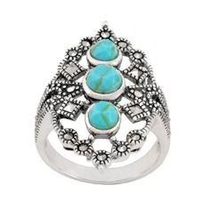 Sterling Silver Marcasite and Synthetic Turquoise Open Work Ring, Size 5 Jewelry Rings, Jewelry Box, Marcasite Jewelry, Birthstones, Turquoise Necklace, Sterling Silver Rings, Perfume, Bling, My Style
