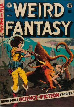 """jake-bourbon: """"notpulpcovers: """" brudesworld: """" Al Williamson and Frank Frazetta, 1953 """" That is a weird fantasy """" This is a total inversion of the usual pulp cover gender roles — she is fully dressed,. Book Cover Art, Comic Book Covers, Comic Books Art, Book Art, Comic Art, Sci Fi Comics, Fantasy Comics, Horror Comics, Scary Comics"""