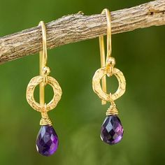 Gold plated amethyst dangle earrings, 'Lilac Suns' - Fair Trade Gold Plated Earrings with Amethysts
