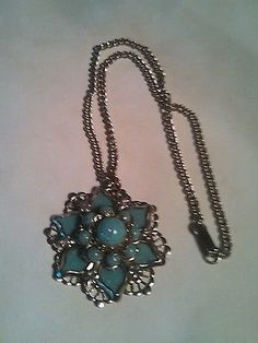 Vintage Blue & Silver Tone Flower Necklace - ON SALE