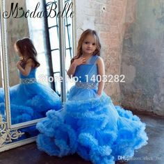 Robe De Princesse Bleu Could Kids Puffy Dresses 2017 Blue Crystal Flower Girls Dresses For Weddings Pageant Gowns Comunion Dress