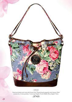 Floral & denim tote with brown trims. H090-00 @ R425    #handbag #floral #baggram #fashionhandbag #trendy #fashionista #instabag #cazabella ronel.cazabella@yahoo.com Keep Jewelry, Silver Jewelry, Brown Trim, Floral Denim, Fashion Handbags, Silver Color, Costume Jewelry, Shoulder Bag, Jewels