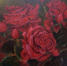 Red Roses For My Love ~ Micheal Giddens ~ Oil on Canvas