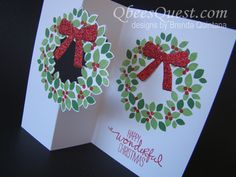 I've flipped over this Wreath Flip Card Design.  The original idea came from the talented Zoe Tant.  Find out how to make this card with my video tutorial here: http://qbeesquest.blogspot.com/2014/12/wondrous-wreath-flip-card-tutorial.html