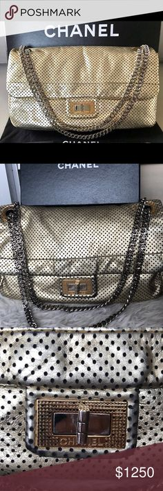 93f5bc1e2127 Auth Chanel Gold drill perforated flap Authentic shows normal wear