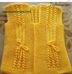 """Bebek yelek I found no site, page, or pattern for this item. [ """"Can anyone plz give a heads up on the pattern. The cast on etc. Knitting For Kids, Crochet For Kids, Baby Knitting, Crochet Baby, Knit Crochet, Knitted Baby, Baby Sweater Knitting Pattern, Lace Knitting Patterns, Knitting Stitches"""