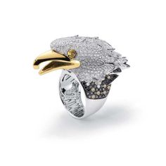 Eagle Collection - Limited Edition, white and yellow gold ring with colourless, black, brown diamonds and yellow sapphires by Roberto Coin Bird Jewelry, Animal Jewelry, Gemstone Jewelry, Jewelery, Animal Rings, Men's Jewellery, Coin Jewelry, Jewelry Trends, Jewelry Accessories