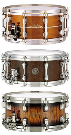 Tama bubinga snare drums. Love the look of this exotic wood and the quality of Tama snares.