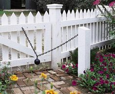 At Thornhill on all gates.really wonderful for complete functionality of all gates.Cannon Ball Closure from Walpole Woodworkers Deer Fence, Fence Gate, Horse Fence, Fencing, Fence Styles, Garden Styles, Picket Gate, Picket Fences, Walpole Woodworkers