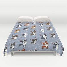 Boston Terriers Duvet Cover by DoggieDrawings - $99.00