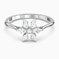 This ring by Swarovski is as beautiful as it is simple. Several kite-shaped white stones take centre stage, forming a sparkling snowflake with a central round element. Th Find out more Swarovski Uk, Swarovski Snowflake, Swarovski Gifts, Snowflake Ring, Swarovski Jewelry, Swarovski Crystals, Ring Ring, Magic Ring, White Stone
