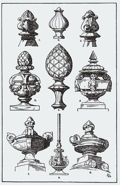 Knoepfe-Vasen A Handbook Of Ornament Franz Sales Meyer Ornaments Finials Happy New Year Classic Architecture, Architecture Details, Vintage Ornaments, Rococo, Vintage Ephemera, Vase, Architectural Elements, Chinoiserie, Design Elements