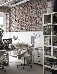 creative workspace in white with exposed brick | interior design + decorating ideas