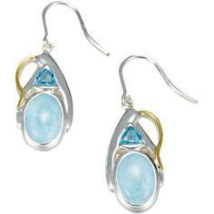 MarahLago - Larimar & Blue Topaz Lena Earrings in Sterling Silver & 18k Yellow Gold - Sparkle like the Caribbean Sea! MarahLago, the first name in Larimar jewelry, matches elegance with style in these shining sterling silver and Larimar earrings.