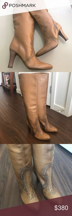 """Bottega Veneta knee high leather boots Brand new never worn! Buttery soft tan leather! Boots have some discoloration and markings for a distressed worn in leather look. Signature bottega knot pattern visible in front part of boot. Marked size 40 or US size 10. Mid size heel- 3.2"""" . Sorry no box available with these. Open to REASONABLE offers. Bottega Veneta Shoes Heeled Boots"""