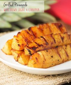 Brown sugar and cinnamon coat spears of pineapple which get grilled to perfection. One of my absolute favorite recipes for grilling season!