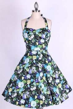 1950s Retro Floral Halterneck Swing Prom Dress 81524