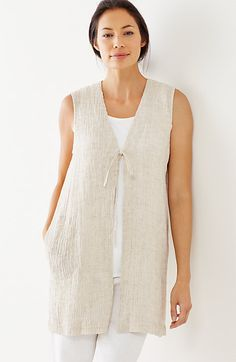 Pure Jill crinkled-linen vest  –  this would be so easy to make.