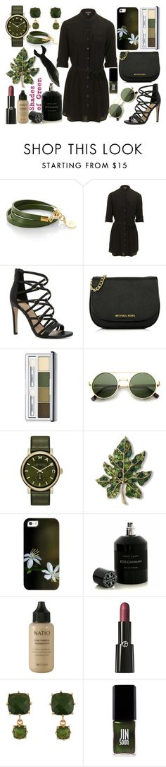 """""""Shades Of Green #1"""" by quinn-avina ❤ liked on Polyvore featuring Topshop, ALDO, MICHAEL Michael Kors, Clinique, ZeroUV, Marc by Marc Jacobs, Kenneth Jay Lane, Casetify, Hervé Gambs and Natio"""