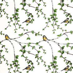 Gläntan tyg - Arvidssons Textil → NordicNest.se Great Tit, Stoff Design, Swedish Brands, Textiles, Pretty Birds, In The Tree, Scandinavian Home, Marimekko, Estilo Retro
