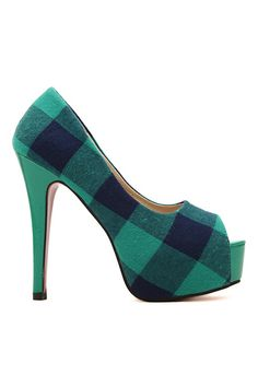 ROMWE | ROMWE Check Peep-toe Platform Party High Heels, The Latest Street Fashion