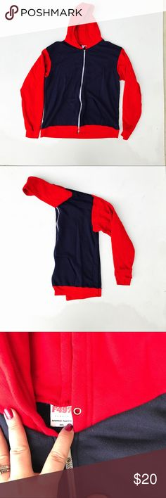 American Apparel Hoodie Sweatshirt Sweatshirt red and navy blue. Missing drawstring, rarely worn American Apparel Sweaters Zip Up