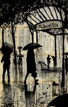 "Loui Jover; Pen and Ink, Drawing ""metropolitain"".  Great depth."