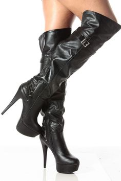 Fashion trend of Black Faux Leather Thigh High Platform High Heel Boots @ Cicihot