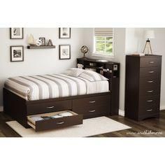 storage under bed, shelving headboard, no gaps under bed ie. no dust bunnies.