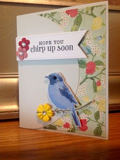 Get well card to cheer up friend after surgery by janisdesigns. Hero Arts layering bird stamp set, SSS stitched background die, PTI stitched label die, Lifestyles circle die, EP pattern paper, PTI soft stone and tag stock papers, variety of Ranger inks and distress white for 3rd layer on bird, stash flowers and jewels.