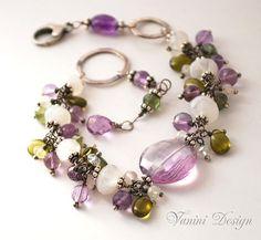 Spring tranquility-Fine/Sterling silver,rainbow moonstone,Amethyst,Vesonite,green apatite bracelet on Etsy, $148.00
