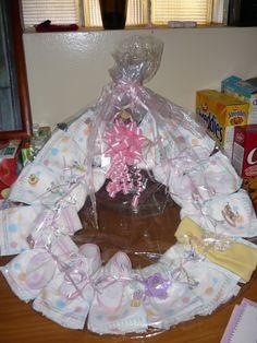 baby shower- diaper wreath Diaper Wreath, Baby Shower Diapers, Children, Design, Young Children, Kids, Children's Comics, Design Comics, Sons